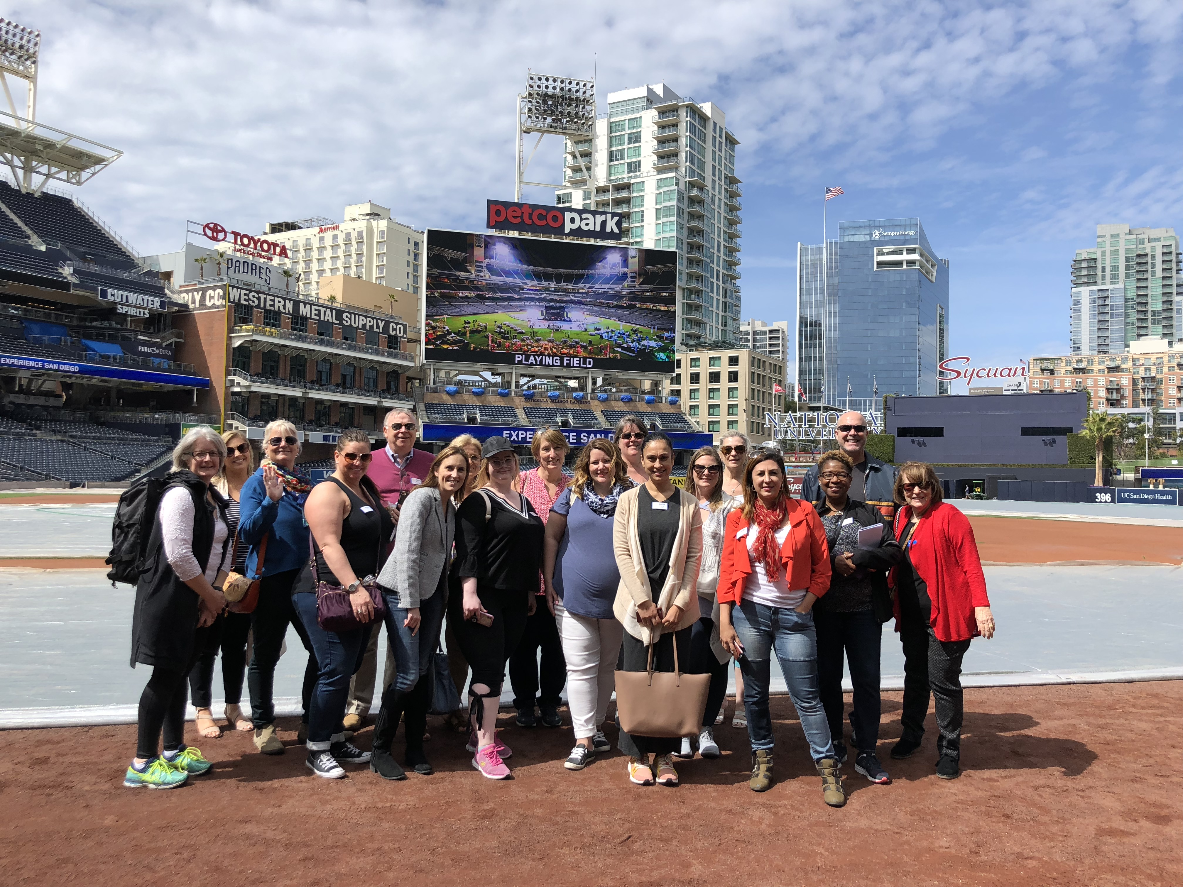 Meeting planners enjoying a tour of Petco Park - great for sports-themed meetings!